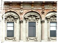Photo of Roman Windows - Pink Facade Closeup